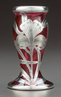 Art Glass:Other , AN ALVIN SILVER OVERLAY CRANBERRY GLASS VASE . Alvin Corporation,Providence, Rhode Island, circa 1900. Marks: 999/1000 Fi...