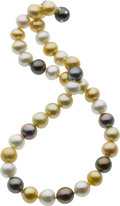 Estate Jewelry:Pearls, Donna Vock South Sea Cultured Pearl, Diamond, White Gold Necklace. ...
