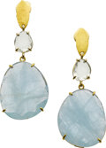 Estate Jewelry:Earrings, Mimi Favre Aquamarine, Sapphire, Gold Earrings. ...