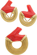 Estate Jewelry:Suites, Christopher Walling Coral, 18k Gold Jewelry Suite. ... (Total: 2 Items)