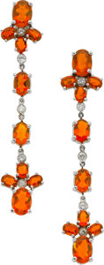 Estate Jewelry:Earrings, Naina Fire Opal, Diamond, Gold Earrings. ...