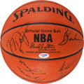 Basketball Collectibles:Balls, 1991-92 Chicago Bulls Team Signed Leather NBA Basketball - WorldChampionship Season!...