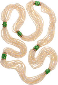 Jean Schlumberger for Tiffany & Co. Cultured Pearl, Enamel, 18k Gold Necklace