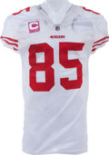 Football Collectibles:Uniforms, 2010 Vernon Davis Game Worn, Unwashed San Francisco 49ers Jersey - NFL Auction LOA....
