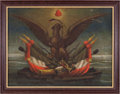 Miscellaneous, [Mexican War]. Mexican Federal Eagle with War Insignia Painting,circa 1846. ...