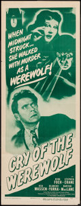 """Movie Posters:Horror, Cry of the Werewolf (Columbia, R-1949). Insert (14"""" X 36""""). Horror.. ..."""