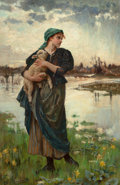Paintings, ALICE HAVERS (British, 1850-1890). The Faithful Shepherdess, circa 1886. Oil on canvas. 37 x 24 inches (94.0 x 61.0 cm)...
