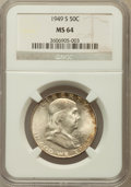Franklin Half Dollars: , 1949-S 50C MS64 NGC. NGC Census: (862/1250). PCGS Population(1842/1699). Mintage: 3,744,000. Numismedia Wsl. Price for pro...