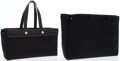 Luxury Accessories:Bags, Hermes Black Vache Leather and Black Toile Herbag MM Tote Bag. ...