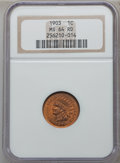 Indian Cents: , 1903 1C MS64 Red NGC. NGC Census: (156/192). PCGS Population(297/257). Mintage: 85,094,496. Numismedia Wsl. Price for prob...