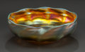 Art Glass:Tiffany , A TIFFANY STUDIOS GOLD FAVRILE GLASS SHAPED BOWL . Circa 1900.Marks: L.C.T. Favrile. 2 inches high x 6-1/8 inches diame...