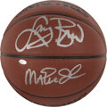 Basketball Collectibles:Balls, Larry Bird and Magic Johnson Multi Signed Basketball....