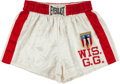 """Boxing Collectibles:Memorabilia, 1980's Wisconsin Gold Gloves Satin """"Everlast"""" Boxing Trunks...."""