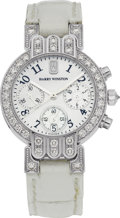 "Estate Jewelry:Watches, Harry Winston Lady's Diamond, Mother-of-Pearl, White Gold ""Premier""Leather Chronograph Wristwatch. ..."