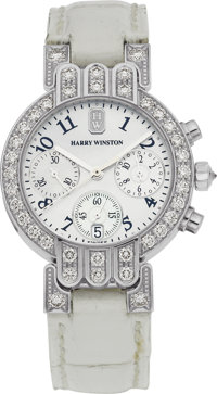 "Harry Winston Lady's Diamond, Mother-of-Pearl, White Gold ""Premier"" Leather Chronograph Wristwatch"