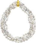 Estate Jewelry:Necklaces, Elizabeth Locke Freshwater Cultured Pearl, Gold Necklace. ...