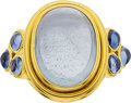 Estate Jewelry:Rings, Temple St. Clair Aquamarine, Sapphire, Gold Ring. ...