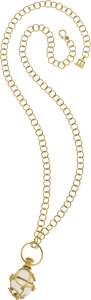 Estate Jewelry:Necklaces, Temple St. Clair Rock Crystal Quartz, Diamond, 18k Gold Necklace. ...