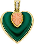 Estate Jewelry:Pendants and Lockets, Cartier Chrysoprase, Coral, Diamond, 18k Gold Pendant. ...