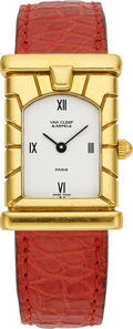 Estate Jewelry:Watches, Van Cleef & Arpels Swiss, Lady's Gold, Leather Strap Wristwatch. ...