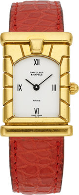 Van Cleef & Arpels Swiss, Lady's Gold, Leather Strap Wristwatch