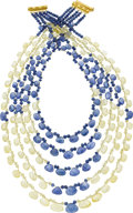 Estate Jewelry:Necklaces, Gloria Natale Sapphire, Gold Necklace. ...