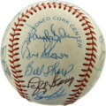 Autographs:Baseballs, Baseball Old Timers Multi-Signed Baseball. A total of 22 signaturesfrom baseball old timers are here on the OAL (Brown) orb...