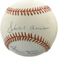 Autographs:Baseballs, Hank Aaron and Willie Mays Dual-Signed Baseball. Two of the finestall-around ballplayers of their time have each provided ...