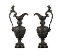 Bronze:European, A Pair of Bronze Ewers. Unknown maker. Late 19th century. Bronze.Unmarked. 38 inches high. Each of the dark brown patin... (Total: 2Items)