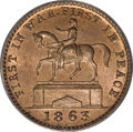 Civil War Patriotics, 1863 Union Forever Token, MS65 Red and Brown ANACS. ...