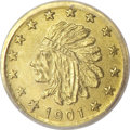 Alaska Tokens, 1901 Alaska Gold Round 1/4 Pinch MS65 NGC....