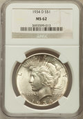 Peace Dollars: , 1934-D $1 MS62 NGC. NGC Census: (853/2203). PCGS Population(1040/3232). Mintage: 1,569,500. Numismedia Wsl. Price for prob...