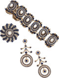 Estate Jewelry:Coin Jewelry and Suites, A BLUE GLASS, PEARL, SILVER GILT SUITE. The suite includes a bracelet, a pair of earrings and a brooch, all featuring round-...