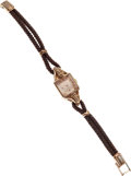 Estate Jewelry:Other , A ROLEX RETRO LADY'S GOLD WRISTWATCH. Case: 23 mm x 16 mm, 18kgold. Dial: Champagne dial with rose gold hands, baton and do...