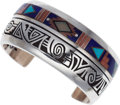 Estate Jewelry:Bracelets, A MULTI-STONE, STERLING SILVER BRACELET, ABRAHAM BEGAY. Thesterling silver bracelet features inlaid turquoise, lapis lazuli...