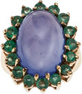 Estate Jewelry:Rings, A DYED BLUE CHALCEDONY, EMERALD, GOLD RING. The ring centers one oval-shaped dyed blue chalcedony cabochon measuring 18.54 x...