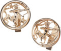 Estate Jewelry:Cufflinks, A PAIR OF GOLD CUFF LINKS, RUSER. The Zodiac theme cuff links depict the sign of Sagittarius, set in 14k gold, marked Ruser....