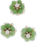 Estate Jewelry:Coin Jewelry and Suites, A DIAMOND, CULTURED PEARL, CHRYSOPRASE, GOLD SUITE. The suite includes a pair of earrings and a ring featuring single-cut di...