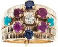Estate Jewelry:Rings, A RETRO DIAMOND, RUBY, SAPPHIRE, TURQUOISE, GOLD RING. The ringfeatures one full-cut diamond weighing approximately 0.12 ca...