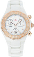Estate Jewelry:Other , A MICHELE LADY'S TAHITIAN DIAMOND WHITE CERAMIC PINK METALCHRONOGRAPH WRISTWATCH. The bezel is accented with single-cutdia...