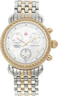 Estate Jewelry:Other , A MICHELE LADY'S DIAMOND TWOTONE CSX33 CHRONOGRAPH WRISTWATCH. Thestainless steel and goldtone watch features a mother-of-p...