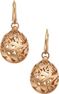 "Jewelry, A PAIR OF PINK GOLD EARRINGS, POMELLATO. The 18k gold ""Arabesque"" earrings weigh 11.61 grams, marked Pomellato. . Dimensio..."