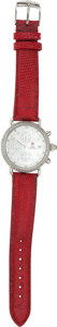 Estate Jewelry:Other , A MICHELE LADY'S DIAMOND STAINLESS STEEL, RED LEATHER STRAP CSXCHRONOGRAPH WRISTWATCH. The watch features a mother-of-pearl...