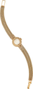 Estate Jewelry:Other , A BULOVA LADY'S GOLD INTEGRAL BRACELET WRISTWATCH. The 14k goldwatch has a manual wind movement. Gross weight 17.08 grams....