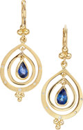Estate Jewelry:Earrings, A PAIR OF SAPPHIRE, DIAMOND, GOLD EARRINGS, TEMPLE ST. CLAIR. Theearrings feature pear-shaped sapphires weighing a total of...