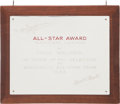 "Baseball Collectibles:Others, 1944 Fred ""Dixie"" Walker All-Star Award Plaque...."