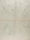 Art:Illustration Art - Mainstream, [Matisse]. Henri Matisse. Group of Two Lithographs. Nd. 14 x 21inches, loosely. Creasing and marking from previous binding ...