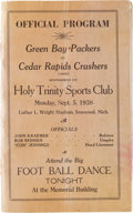 Football Collectibles:Programs, 1938 Green Bay Packers Vs. Cedar Rapids Crushers Program - Only 5,000 in Attendance!...