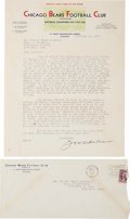 Football Collectibles:Others, 1935 George Halas Signed Letter....