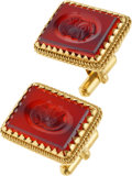 Estate Jewelry:Cufflinks, A PAIR OF CARNELIAN, GOLD CUFF LINKS. The cuff links feature carvedcarnelian plaques set in 18k gold with 18k gold swivel...